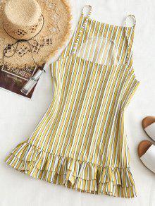 M Dress Mini Stripes Raya Ruffle Shift qP0zYz
