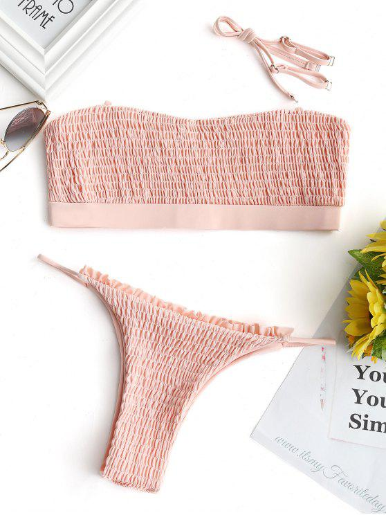 Ensemble Bikini Smocké Volanté Sans Bretelles - Rose Clair S