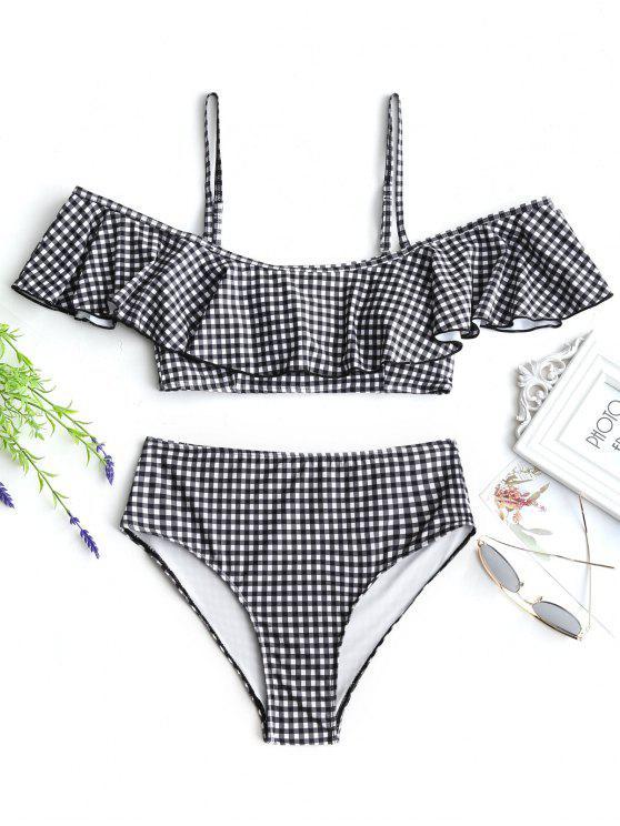 Bikini de cuello alto con volantes - Blanco y Negro L