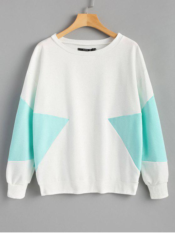 latest Piped Two Tone Sweatshirt - WHITE M