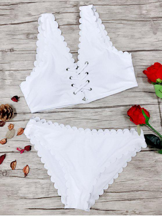 women's Strappy Scalloped Bikini Set - WHITE S