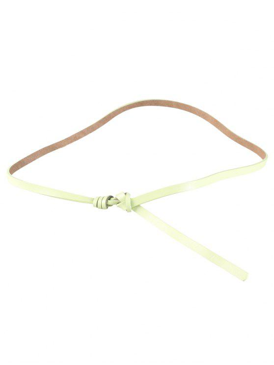 new Knotted Embellished Faux Leather Skinny Belt - LIGHT GREEN