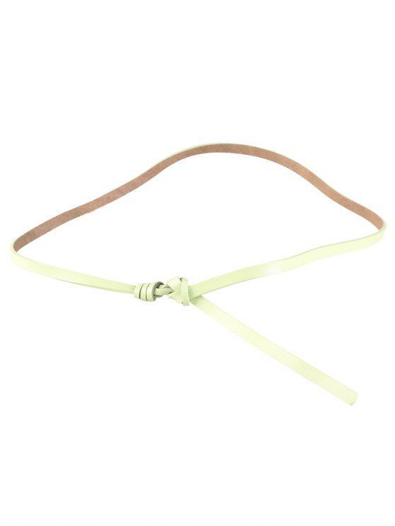 Cintura sottile in pelle sintetica impreziosita con nodi - Verde chiaro