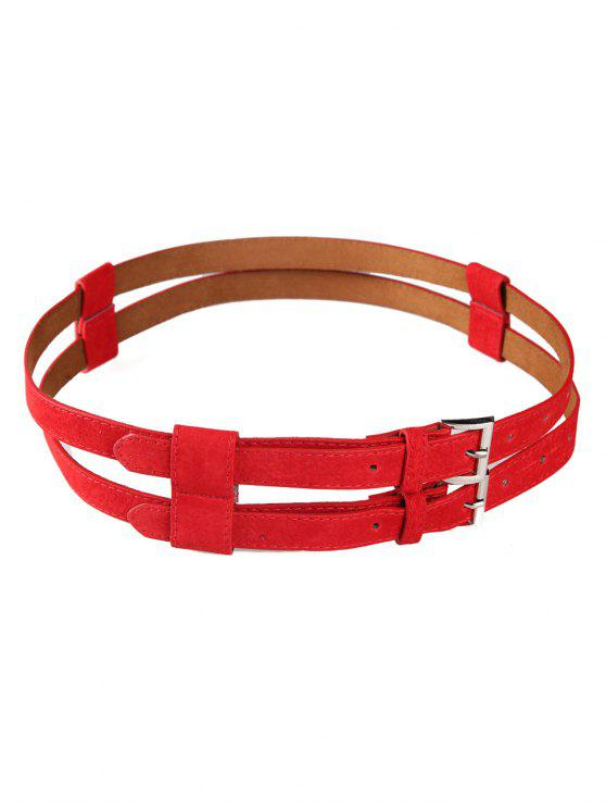 outfits Retro Hollow Out Pattern Twin Waist Belt - RED