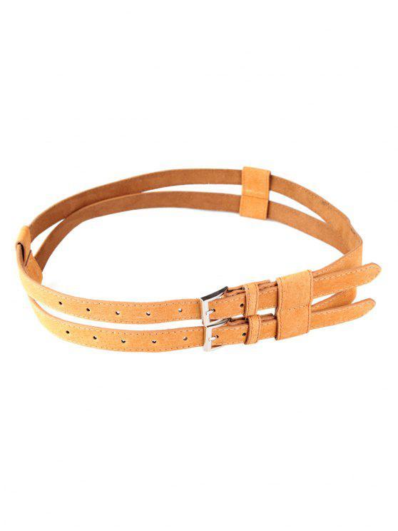 trendy Retro Hollow Out Pattern Twin Waist Belt - CAMEL