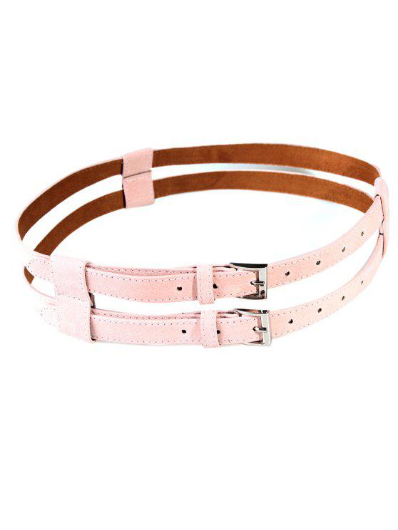 Retro Hollow Out Pattern Cinturón de cintura gemela - Rosa