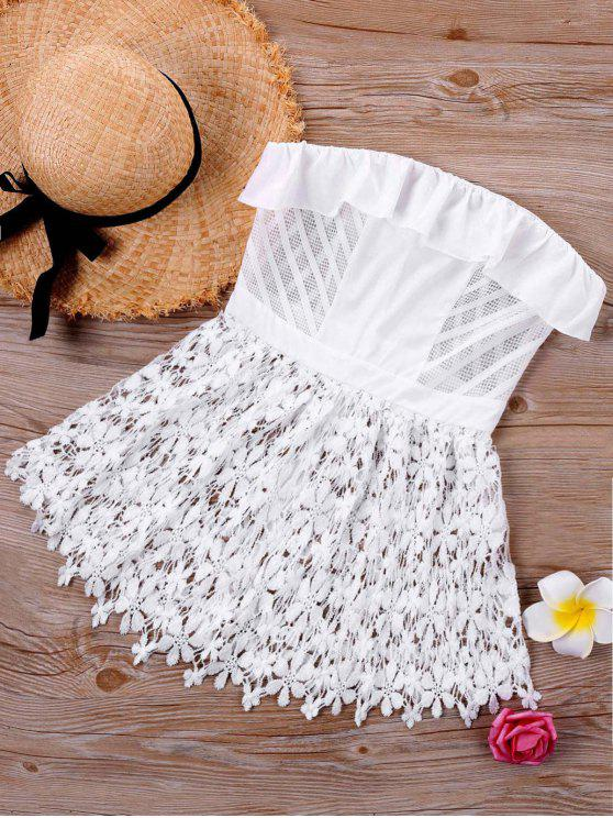 chic Off The Shoulder Cutwork Lace Blouse - WHITE XL