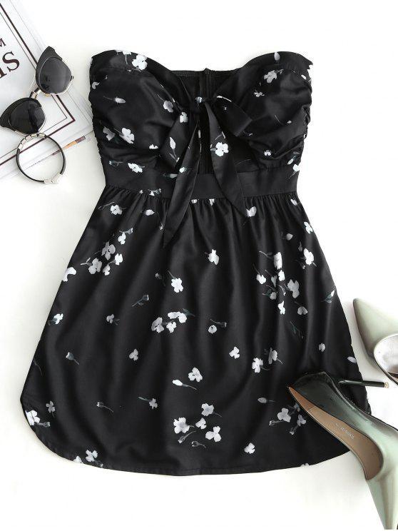 فستان ذو فتحات طباعة الأزهار - أسود L