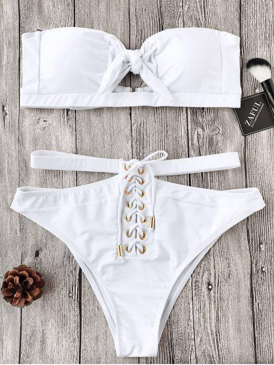 Schnürung Knoten Bandeau Bikini-Set - Weiß M