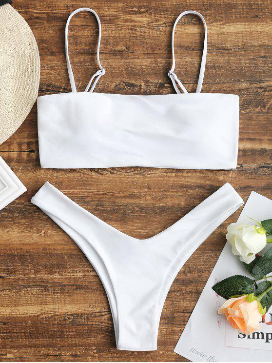 Hohe Schlitz Cami Bikini Set - Weiß S