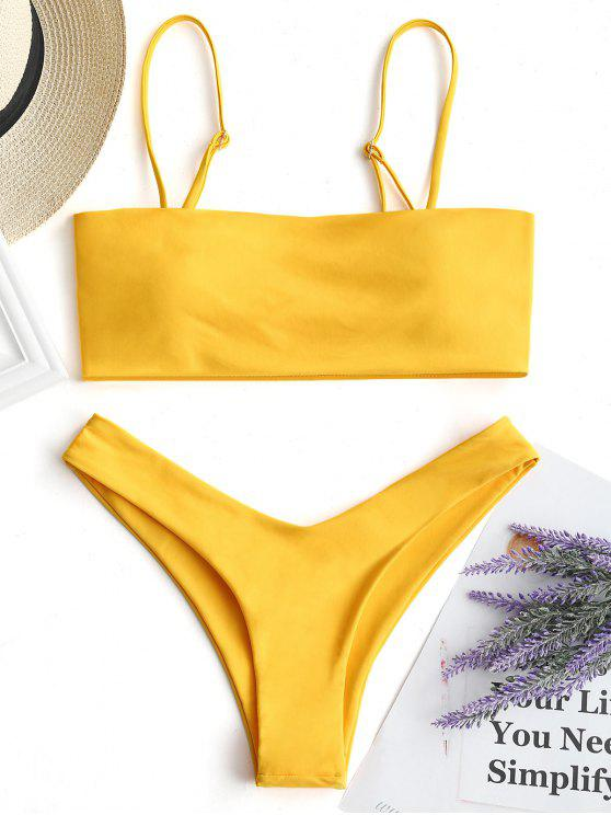 Hohe Schlitz Cami Bikini Set - Gelb M