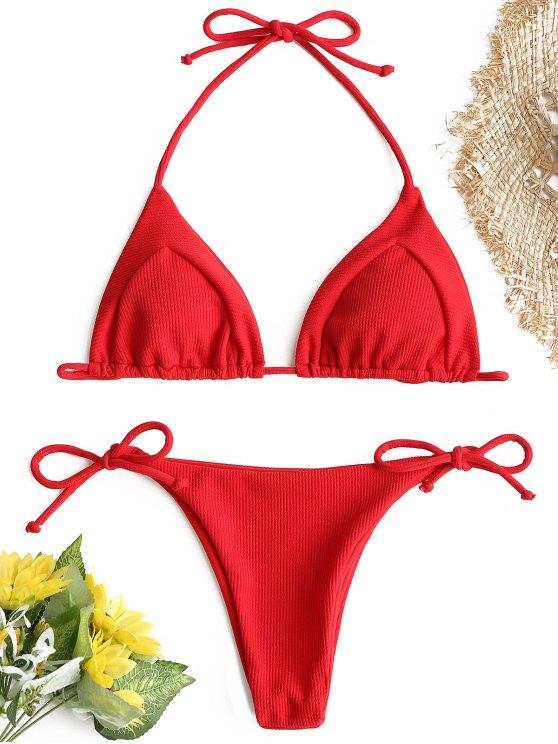 7f9d6331ac2 23% OFF] 2019 Ribbed String Bikini Set In RED | ZAFUL GB