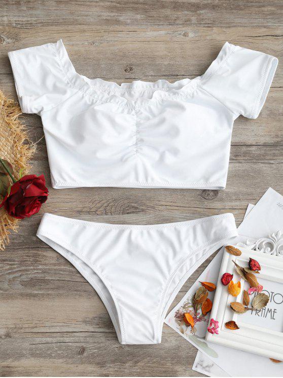 Haut de Bikini Drapé à Épaules Dénudées et Bas - Blanc M