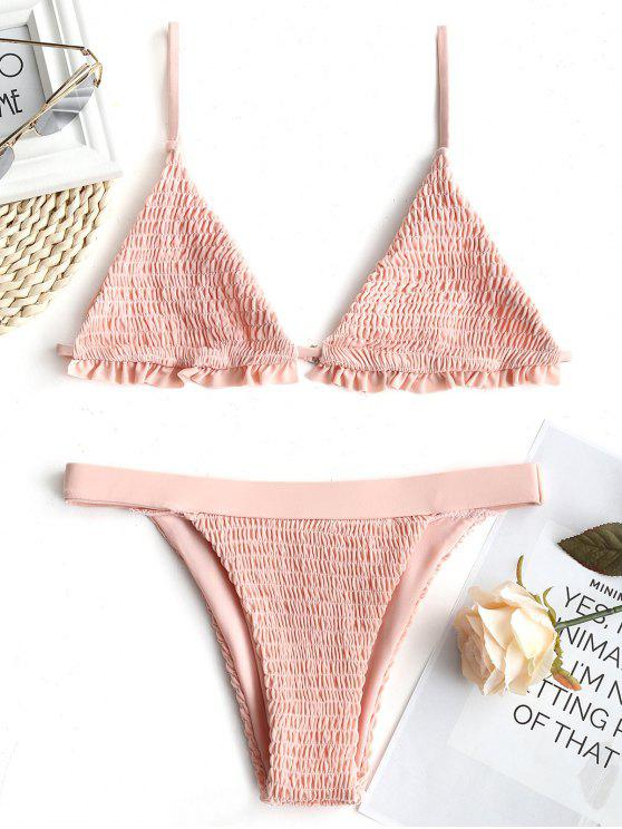 latest Ruffles Bralette Smocked Bathing Suit - SHALLOW PINK XL