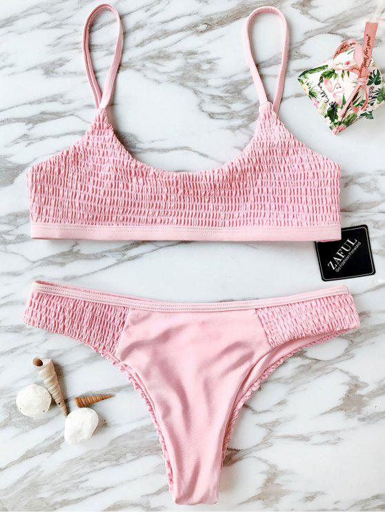 Scoop Smocked Bikini Set - ROSE PÂLE M