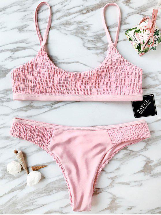 Ensemble Bikini Smocké à Col Arrondi - Rose  S