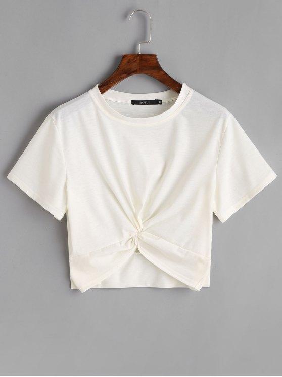 بلوزة قطنية قصيرة مزمومة - أبيض XL