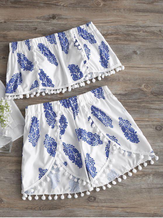 fancy Pompoms Strapless Printed Top and Shorts Set - WHITE L