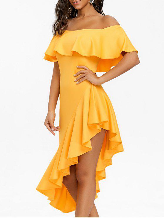 e9ab1fc610ec 2019 Off The Shoulder Asymmetric Flounce Dress In YELLOW M