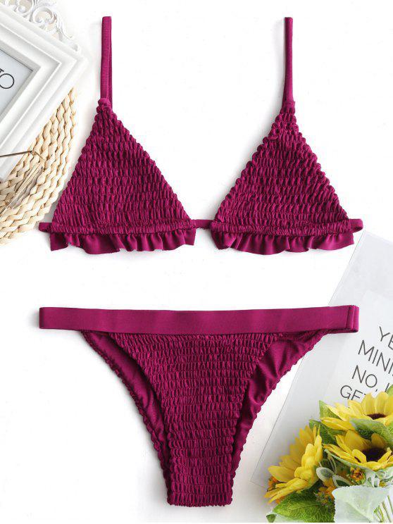 Ruffles Bralette Smocked traje de baño - Rojo purpúreo XL