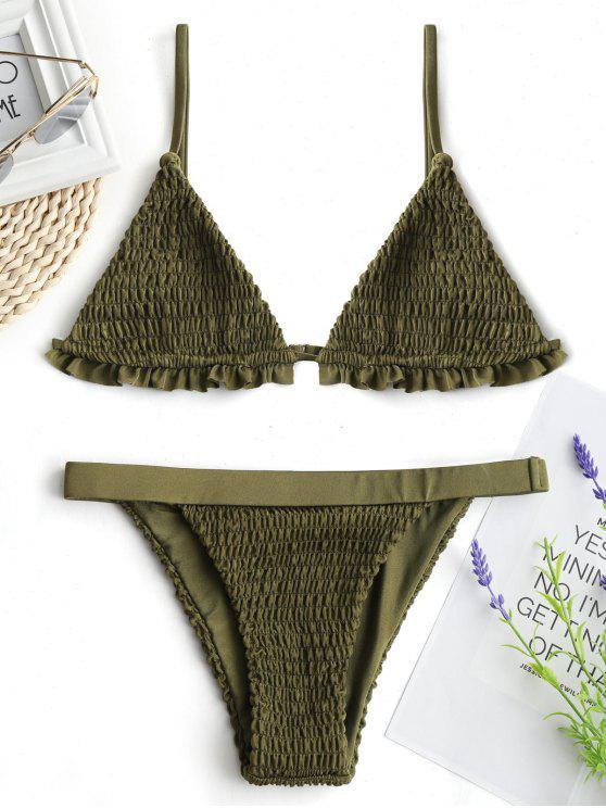 best Ruffles Bralette Smocked Bathing Suit - ARMY GREEN XL