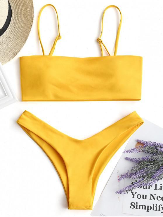 women High Cut Cami Bikini Set - YELLOW S