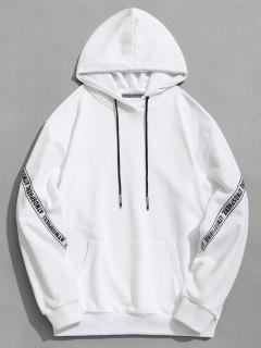Pocket Letter Pullover Hoodie - White L