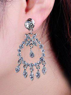 Boucles D'oreilles En Forme De Goutte En Faux Diamants - Argent