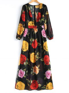 Long Sleeve Floral High Slit Maxi Dress - Floral M