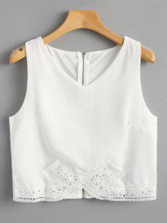 Crochet Lace Panel Back Zip Tank Top - White L