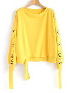 Letter Ribbons Cutout Sweatshirt - Yellow L