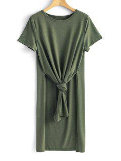 Longline Tie Asymmetrical Top - Army Green L