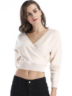 Surplice Short Sweater - Off-white Xl
