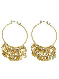 Metal Disc Circle Hoop Drop Earrings - Golden