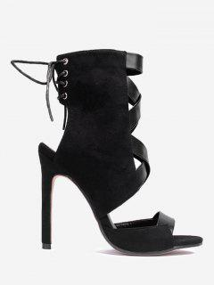High Heel Cutout Back Gladiator Sandals - Black 40