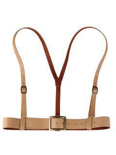 Vintage Punk Harness Faux Leather Belt - Apricot