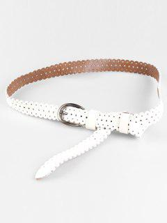Hollow Out Pattern Embellished Cowhide Skinny Belt - White