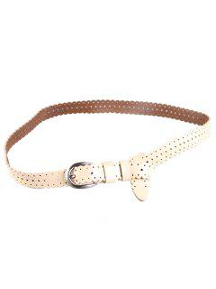 Hollow Out Pattern Embellished Cowhide Skinny Belt - Apricot