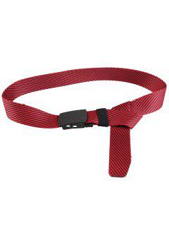 Metal Buckle Stripe Pattern Decorated Army Canvas Belt - Red
