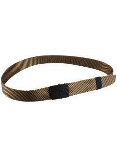 Metal Buckle Stripe Pattern Decorated Army Canvas Belt - Khaki