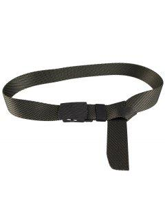 Metal Buckle Stripe Pattern Decorated Army Canvas Belt - Army Green
