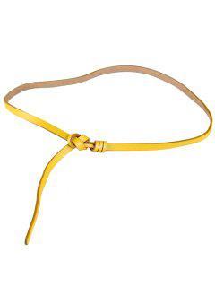 Cinturón Pitillo Con Adornos De Cuero Sintético Anudado - Amarillo