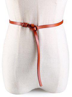 Knotted Embellished Faux Leather Skinny Belt - Camel