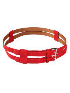 Retro Hollow Out Pattern Cinturón De Cintura Gemela - Rojo