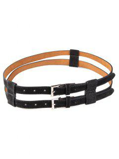 Retro Hollow Out Pattern Twin Waist Belt - Black