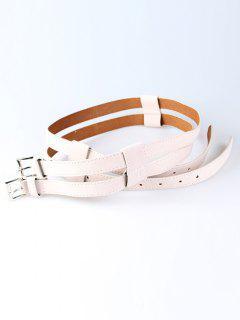 Retro Hollow Out Pattern Twin Waist Belt - Glitter Creamy White
