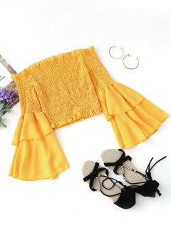 Smocked Bell Sleeve Off Shoulder Top - Yellow L