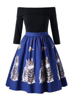 Taille Plus Chaton Off La Robe D'épaule - Bleu 5xl