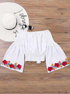 Embroidery Bell Sleeve Blouse - White Xl