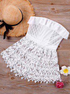 Aus Der Schulter Cutwork Spitzenbluse - Weiß Xl